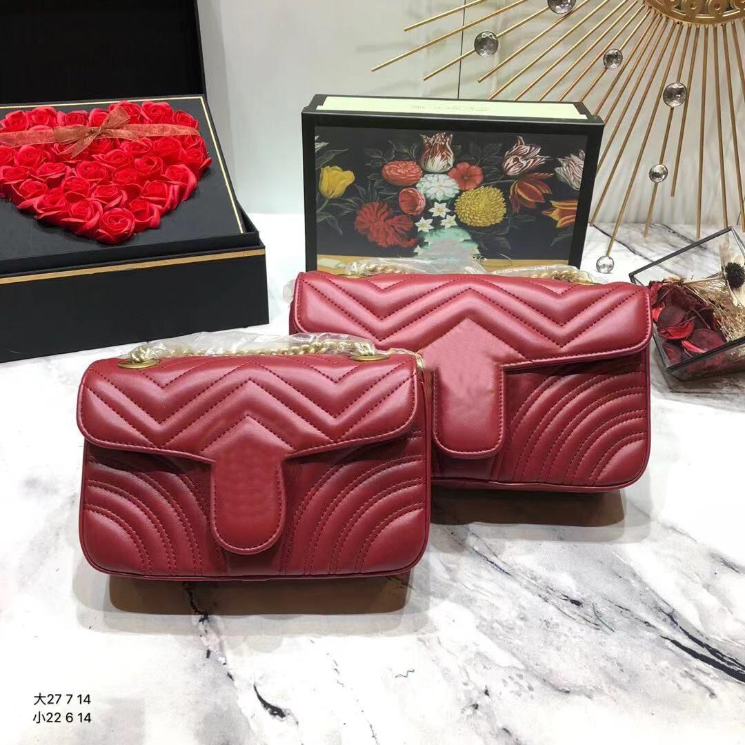 Classic Lussurys Designer Designer Handbag 2 Taglia Borse in vera pelle vera con numero di serie di alta qualità Donne Fashion Marmont Cross Body Bood Totes