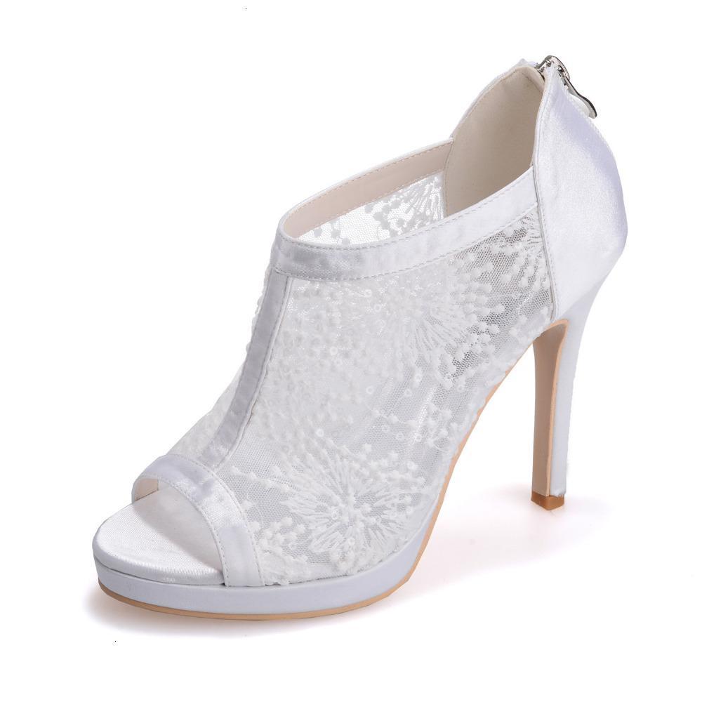 드레스 신발 여자가 오픈 발가락 여름 부츠를 통해 볼 새틴 레이스 레드 블랙 화이트 아이보리 레이디 웨딩 파티 칵테일 FA SXT1