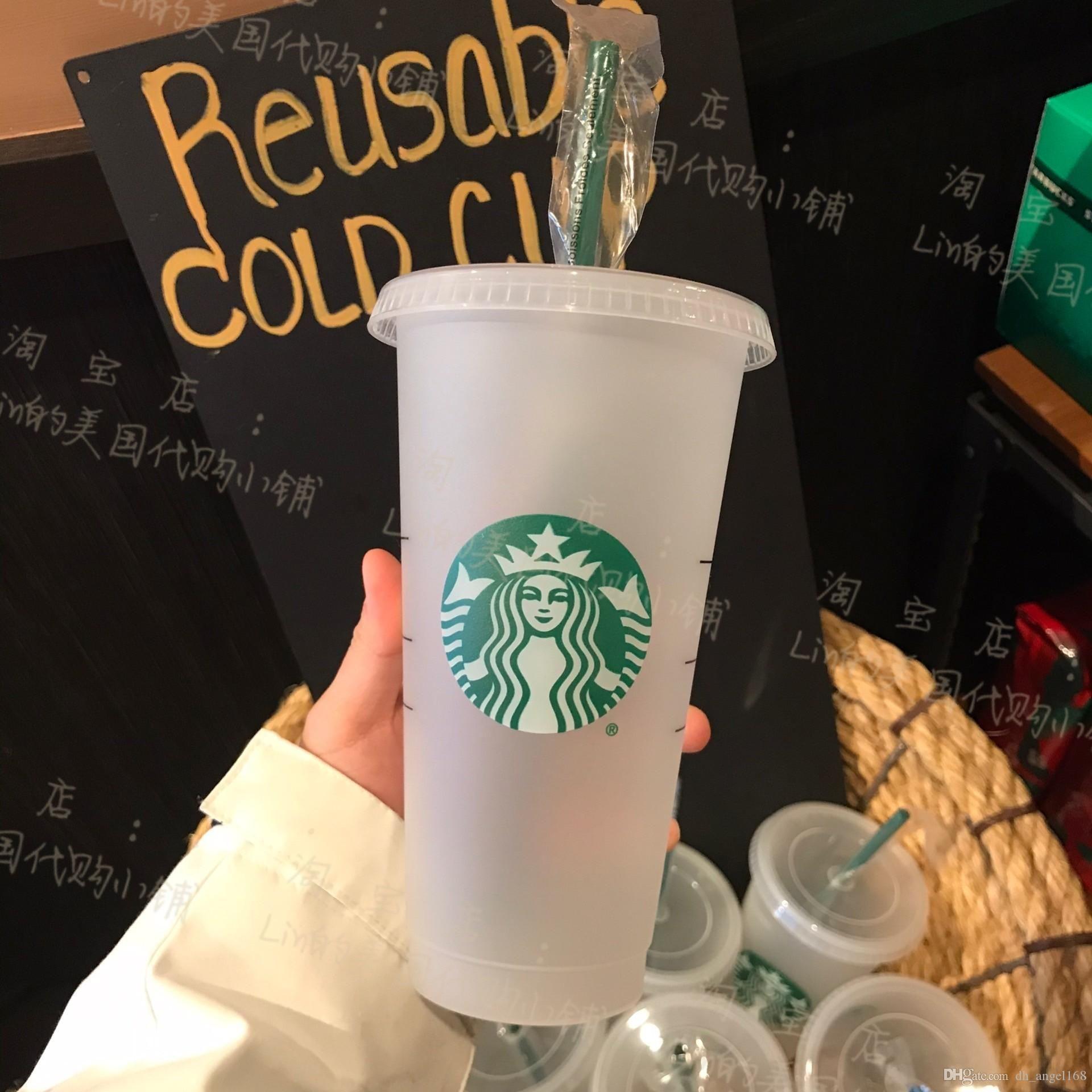 Starbucks 24 oz / 710ml Cosa de plástico Reutilizable Clear Bebida plana taza de pilar Forma de pilar Taza de paja Bardian 5pcs