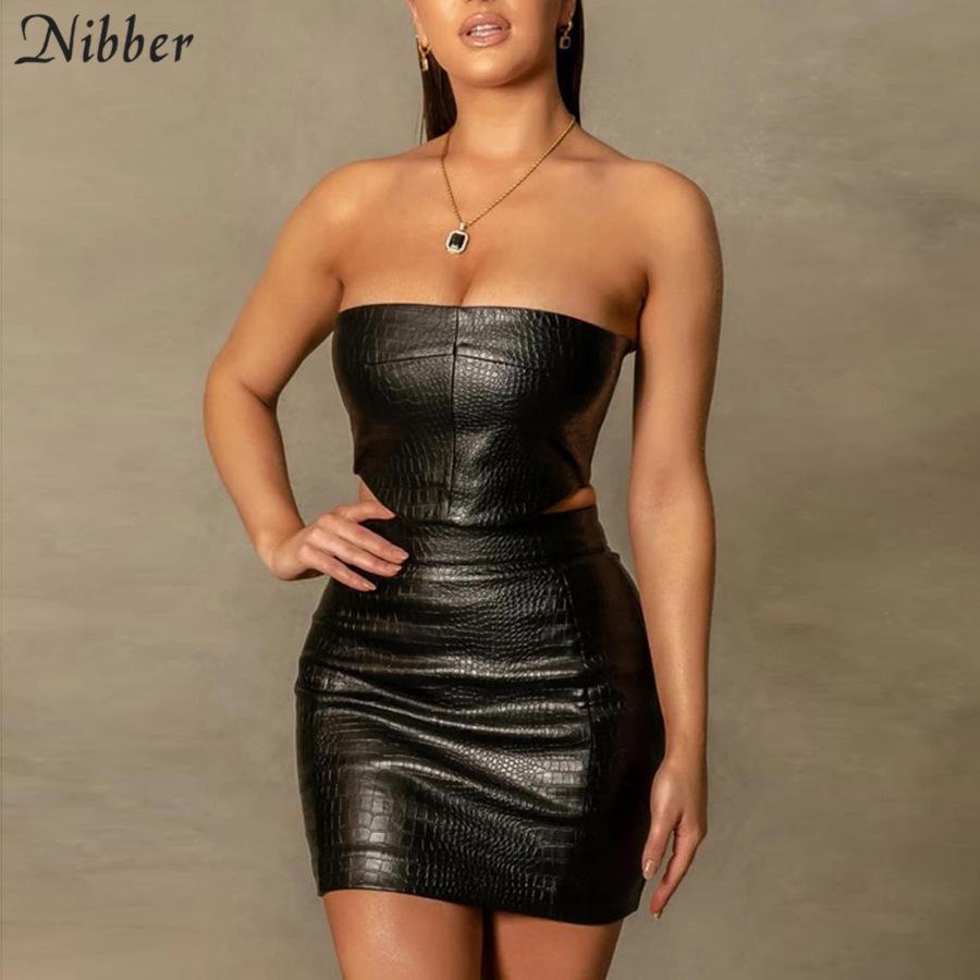 Nibber 2021 Faux PU-Leder Mitternachts-Matching Sexy Tube Top Sets Frauen Club-Partybekleidung Camis und kurze Rock Zweiteilige Outfits C0402