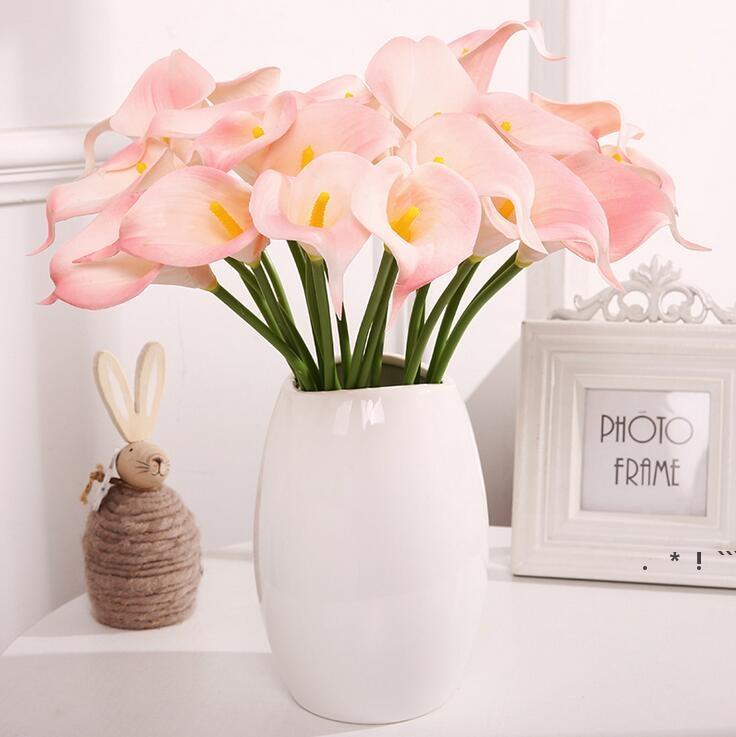 Красочные искусственные каллы лилии цветок реальный сенсорный тонкий PU мини Callas лилии букет для дома свадьба украшения вечеринки EWD6392