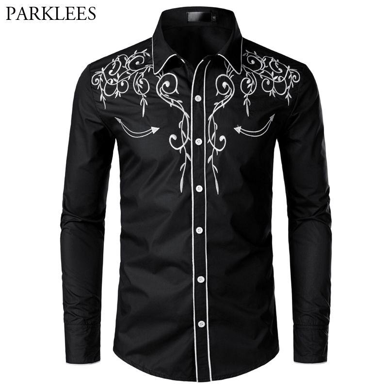 Şık Batı Kovboy Gömlek Erkekler Marka Tasarım Nakış Slim Fit Casual Uzun Kollu Gömlek Erkek Düğün Parti Gömlek Erkek Için 210410
