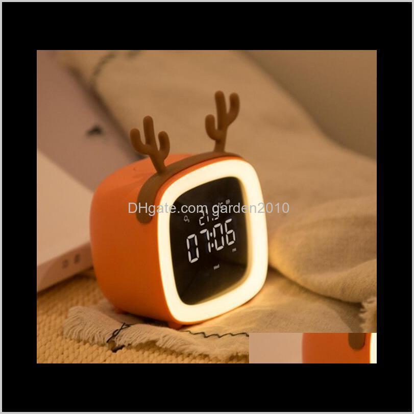 Cute Pet Cartoon Tv Digital Alarm Led Electronic Usb Charging Thermometer Clock Sn Timer Desk Table Clocks Home Décor Ha1084 Qvbb Ju98F