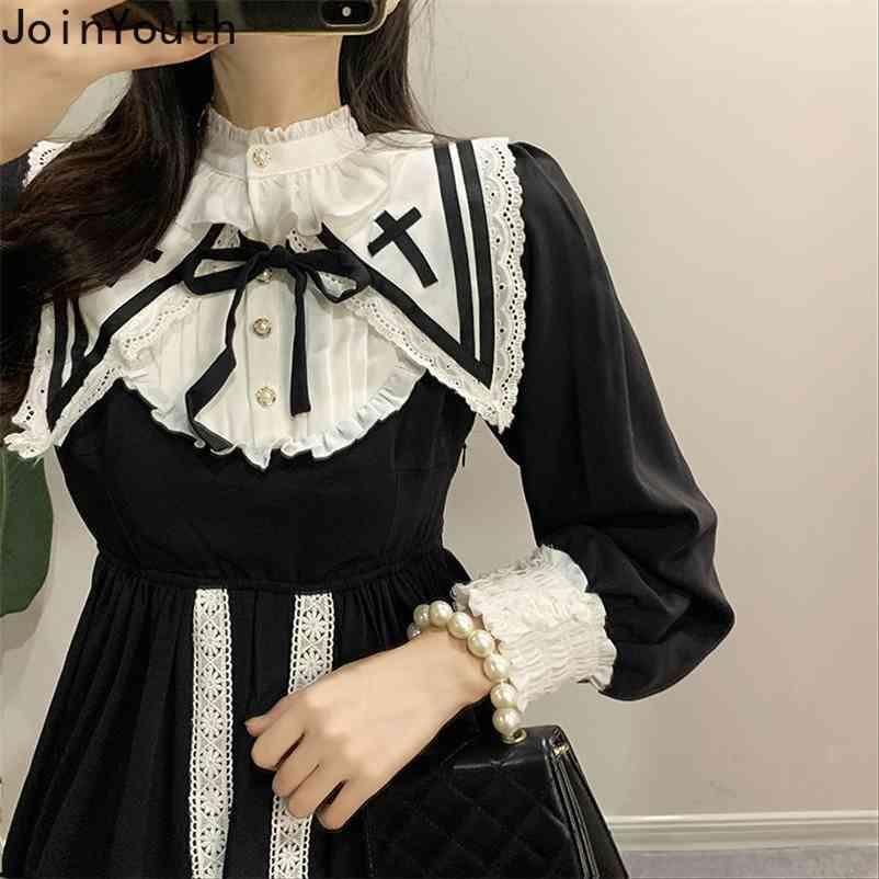 Vestidos Vintage Mulheres Dailor Collar Ruffles Lace Vestidos Mujer Manga Longa Grande Swing Preto Elegante Vestido Mulher 7B751 210506