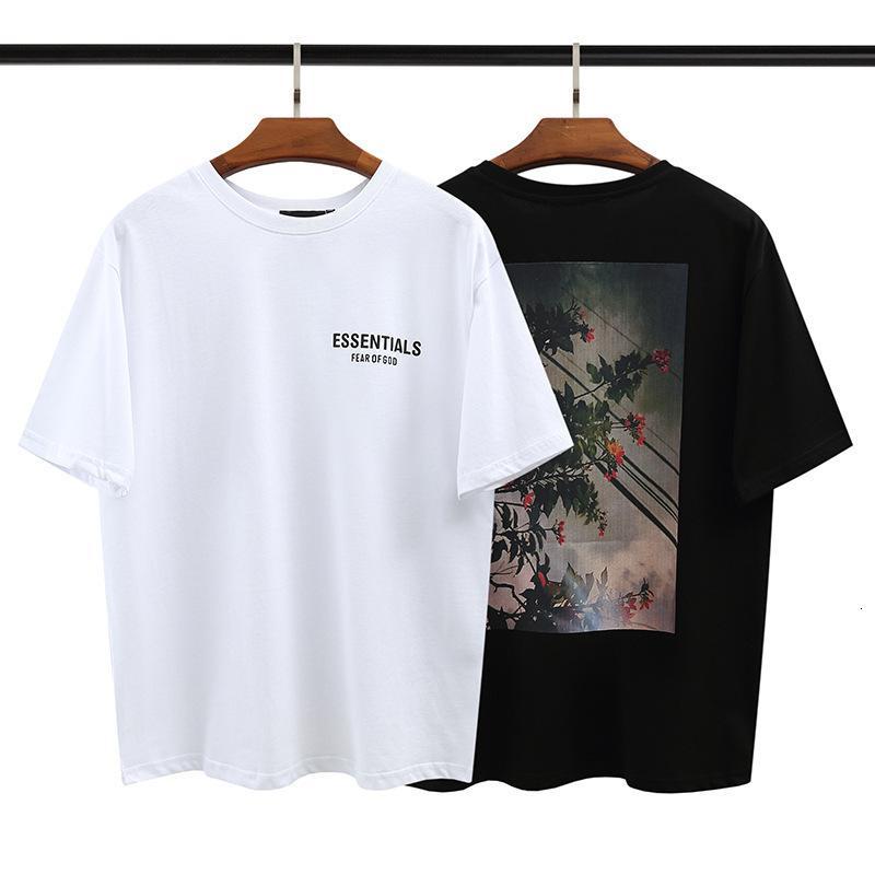 CH Crosin H / Shorts / Chrome Crosin Cash Fashion Essentials Doppia linea Round Neck Nebbia Flower ad alta definizione Stampa manica corta Tshirt