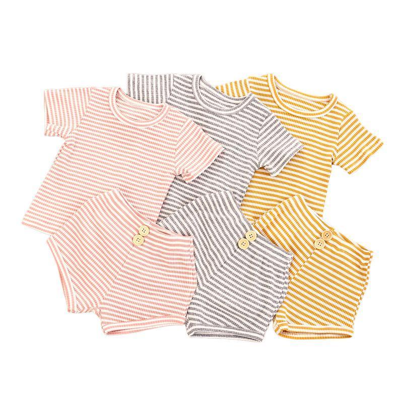 1-6Y Sommer Kinder Mädchen Jungen Kleidung Sets 2 stücke Gestreifte gedruckte Kurzarm T-shirts Tops Shorts 3 Farben Kleidung