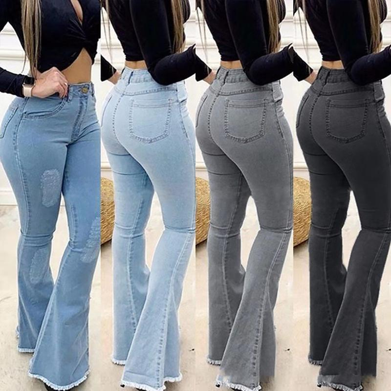 Stacked Pants High Waist R Large Size Jeggings Jeans For Women Boot Cut Pant Slim Casual Boyfriend Women's