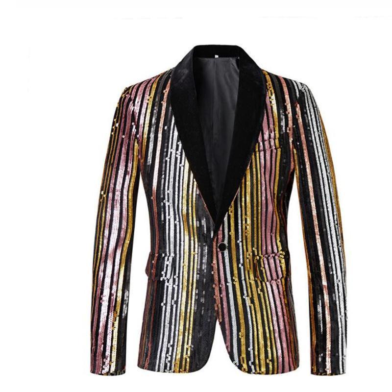 Costumes pour hommes Blazers rayé vestes à paillettes un bouton Multicolore Shiny Terno Masculino Slim Fit Costume de chant de scène