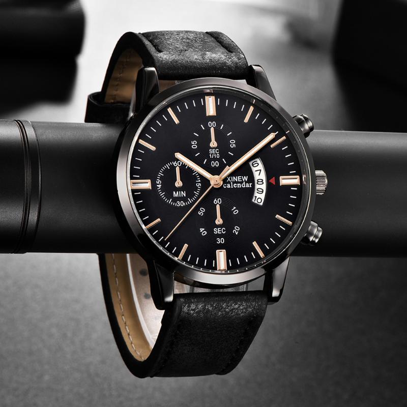 Wristwatches XI Fashion Simple Brand Men's Watch Alloy Case Leather Band Mens Clock Buckle Quartz Analog Wrist Watches Reloj Hombre