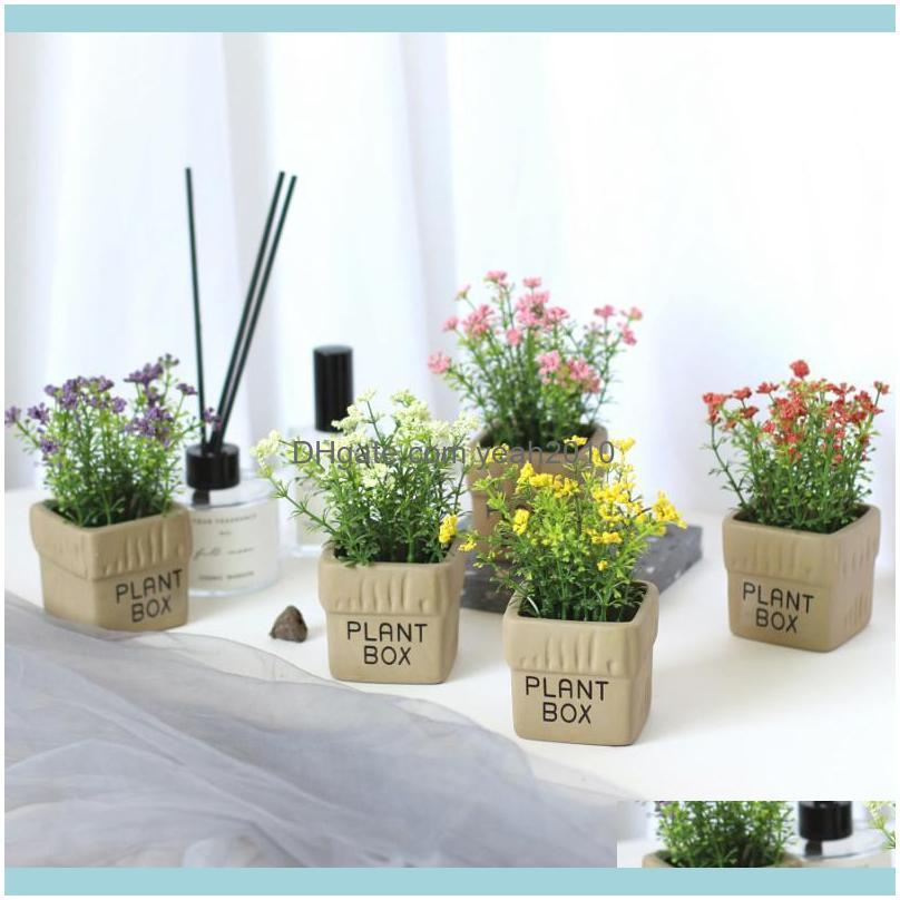Decorativo festivo festivo suprimentos para casa gardendecorative flores grinaldas mini caixa de espuma babys respiração simulação pote plantas bonsai conjunto artific