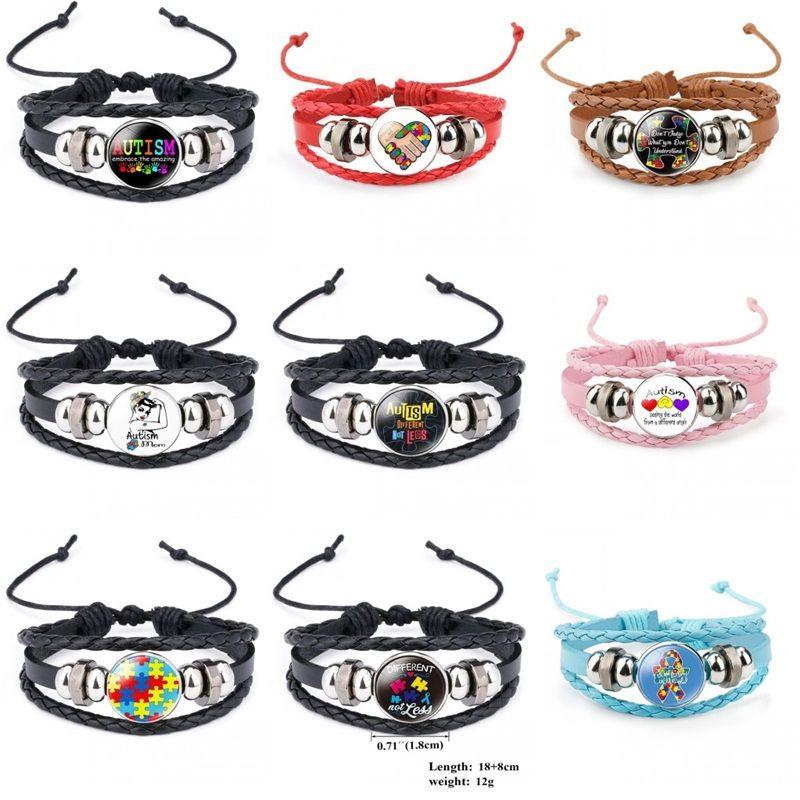 Nuovi Bambini Autism Awareness Braccialetti per bambini Autism Boy Girl Girl Charm Leather Wrap Wristband Bangle Fashion Inspirational Jewelry 785 Q2