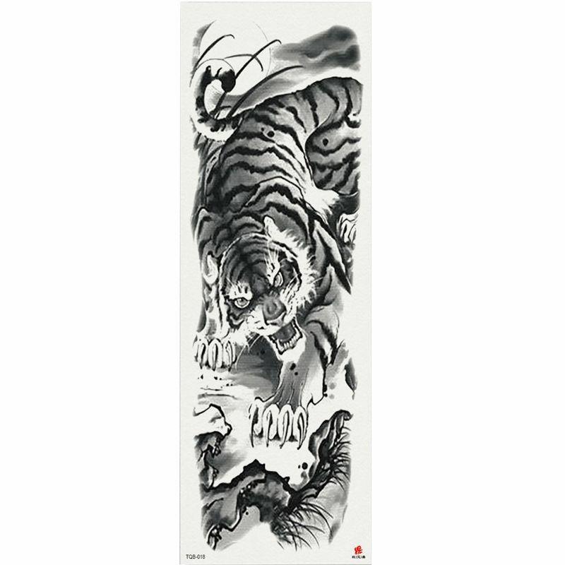 1 pièce peinture chinoise tigre autocollant de tatouage temporaire avec bras d'arbre arbre grosse manches grande autocollant de tatouage