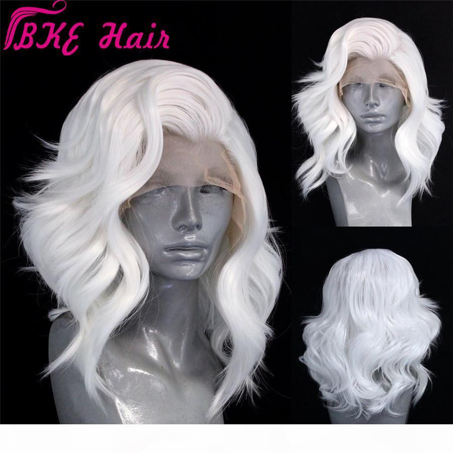 Free part celebrity style Short Wavy Hair Lace frontal Wigs with Baby Hair White bob Wig Lob Hair Synthetic Wig for white women