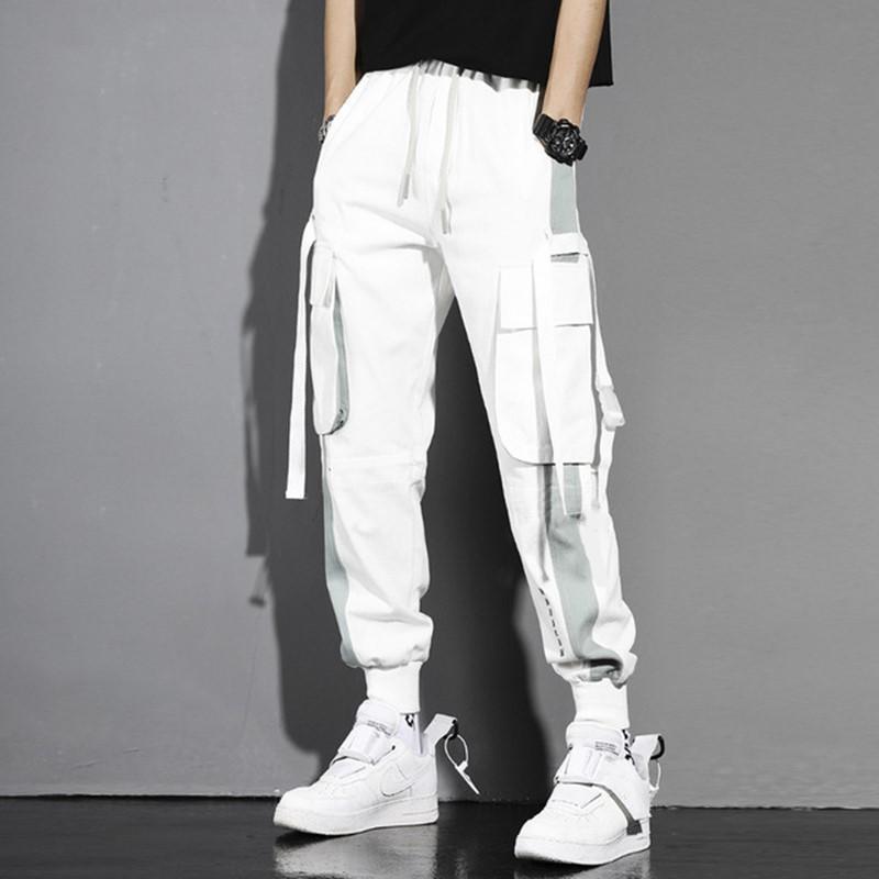 남자 블랙 하렘 바지화물 조깅자 멀티 포켓 리본 남자 스웨트 팬츠 streetwear 캐주얼 탄성 허리 남성 바지 남자