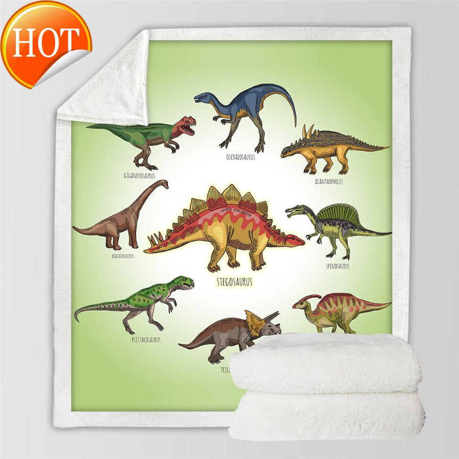 Dinosaur Family BeddingUtlet بطانية للأطفال الكرتون ستوكات الجورافية أفخم شيربا رمي على السرير أريكة الفتيان الفراش 201111 B570