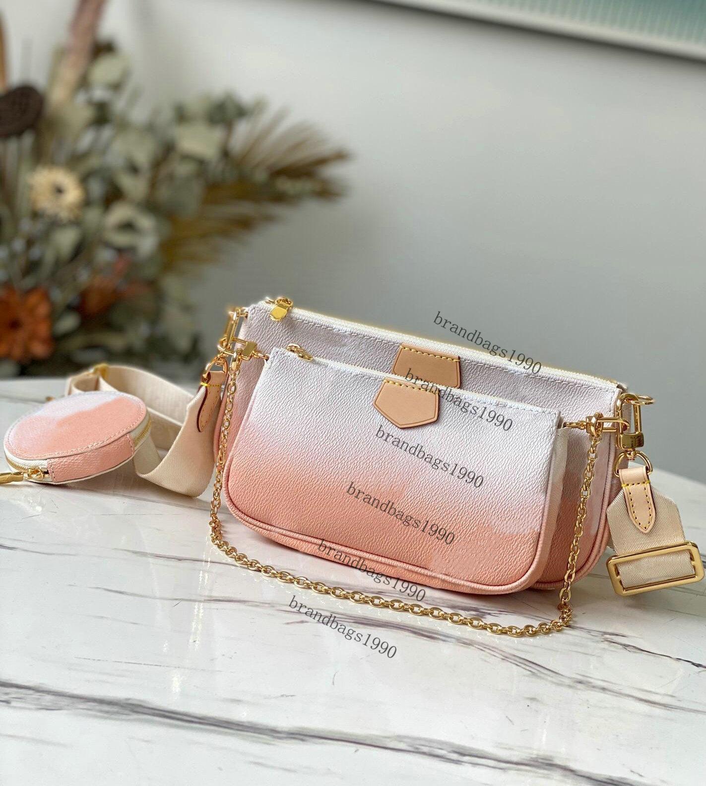 2021 Frauen Tasche Favorit Echtes Leder Modedesigner Handtaschen Multi Pochete Accessoires Geldbörsen Blume Mini 3 stücke Crossbody Umhängetaschen