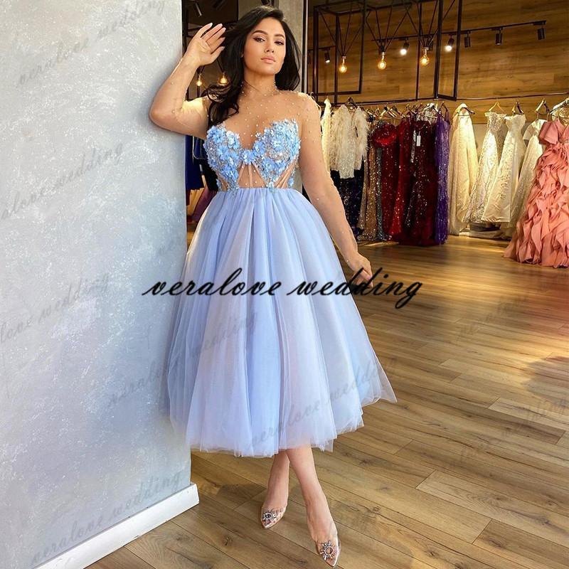 Tea Length Prom Dress Illusion Long Sleeves Appliques Lace Flower Vestidos de gala Graduation Homecoming Dress