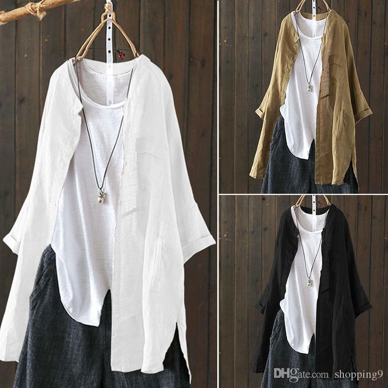 3 Colour S-5XL Women's Buttons Down Casual Long Sleeve Shirt Blouse Ethnic Vintage Chinese Tops 59278341269484