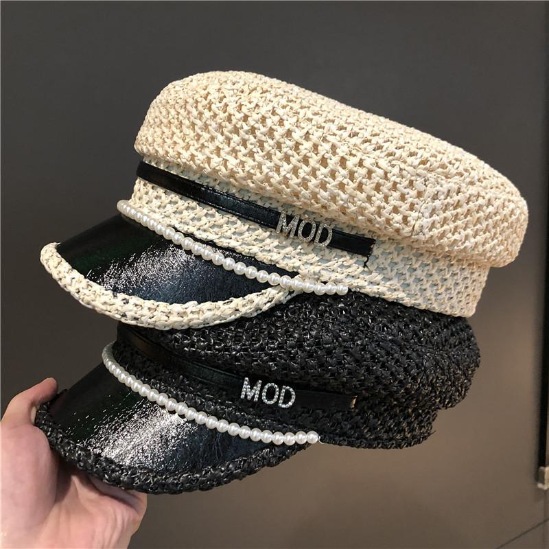 Octagonal Hat Women summer this page to prevent outdoor tide British pearl grass duck tongue Beret women