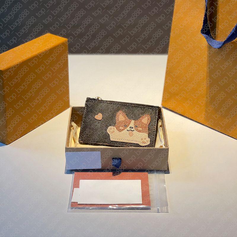 Designer klassische braune blume buchstaben drucken wallter kreditkartenhalter mit cartoon muster hund bär tier reißverschluss münze geldbörse womens brieftaschen