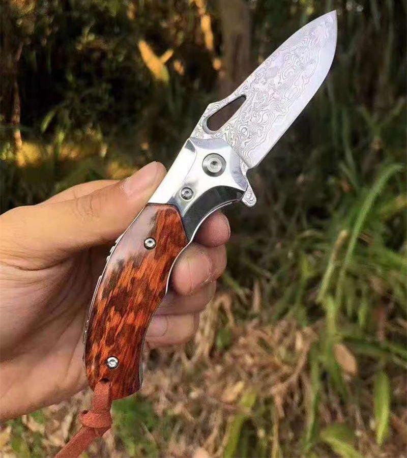 High Quality Damascuss Flipper Folding Knife VG10 Damascus Steel Drop Point Blade Snake Pattern Wood Handle Ball Bearing Folder Knives