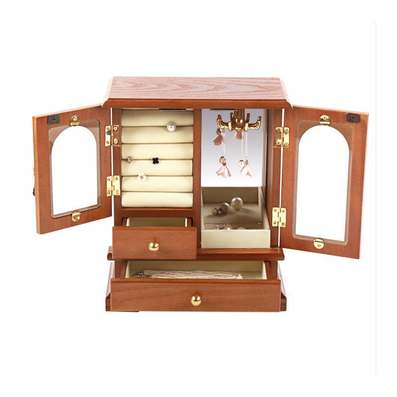 خزانة فريدة من نوعها تصميم مجوهرات تخزين حالة فاخرة خشبية حلقة سوار الأقراط قلادة مجوهرات عرض الحقائب، أكياس