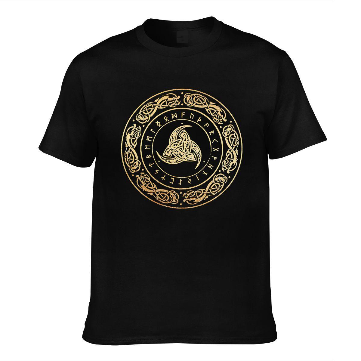 블랙 코튼 티셔츠 바이킹 기호 티셔츠 짧은 소매 남자 탑스 티셔츠 여름 의류 운동 Homme Streetout 착용