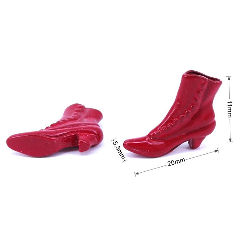 1 زوج 112 دمية الملحقات مصغرة مصغرة حمراء قصيرة أحذية عالية الكعب أحذية الأميرة الأحذية ديكور