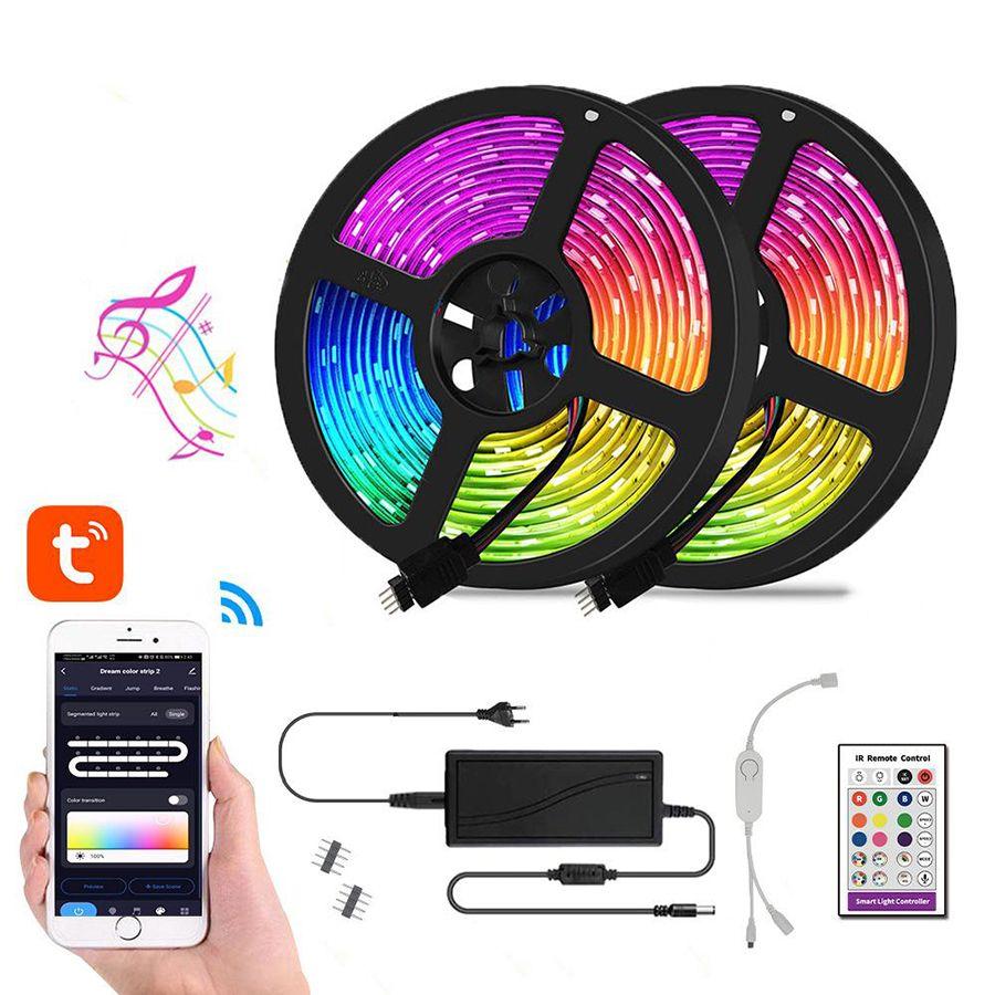 RGB LED قطاع الهاتف الذكي يسيطر على 16.5ft 32.8ft الشريط ضوء أطقم 5050RGB 300LEDS Symphony الموسيقى الأنوار مع تطبيق Magic Home Pro