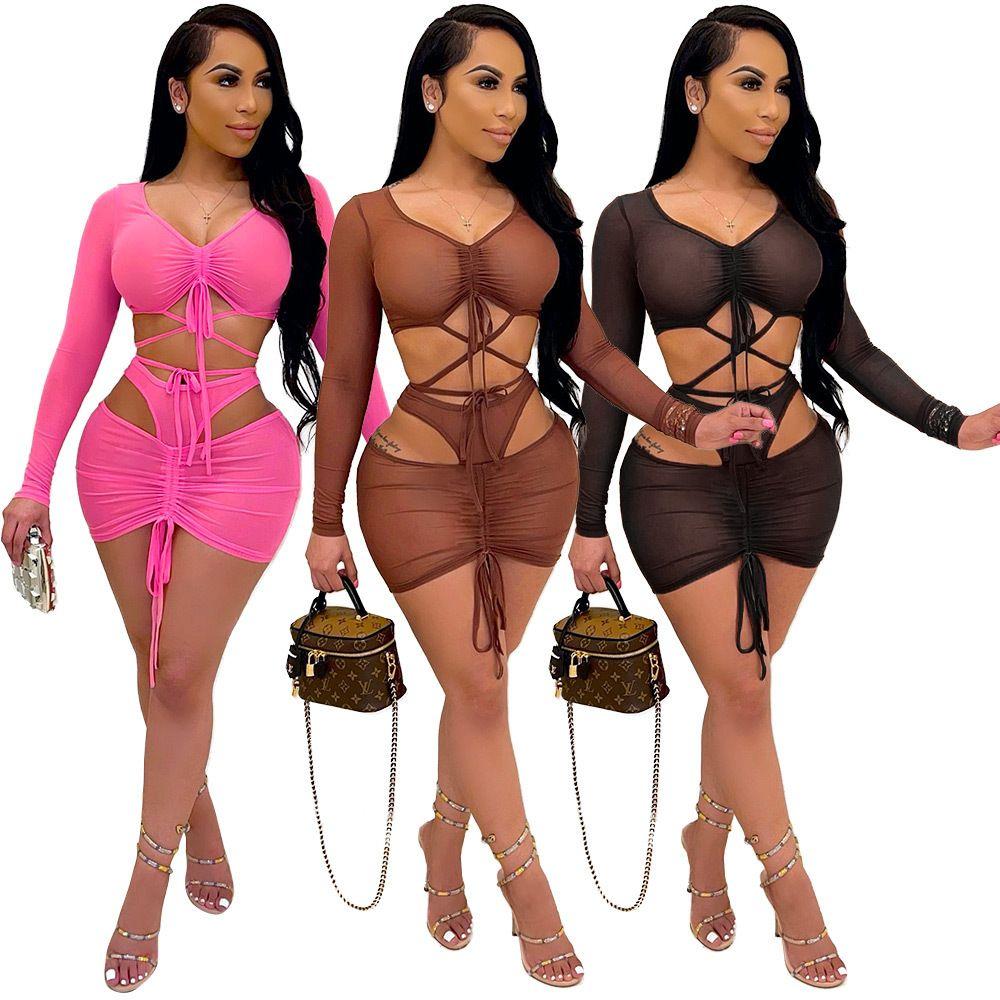 Sexy Sheer Mesh Zweiteiler Set Rock Kleid Full Hülse Sheer Mesh Party Nachtclubwear Sommer Kleidung Für Frauen Outfit 210506