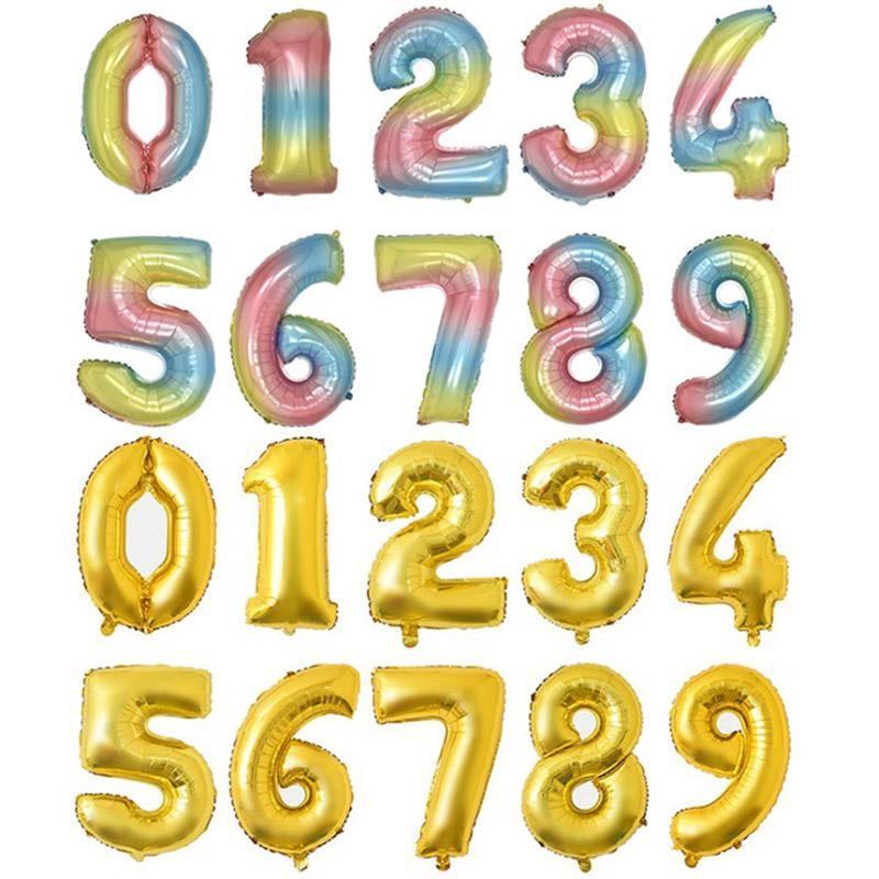 Helyum balon 32 inç altın harf numarası alüminyum folyo balonlar helyum balonlar doğum günü dekorasyon düğün hava balon parti malzemeleri