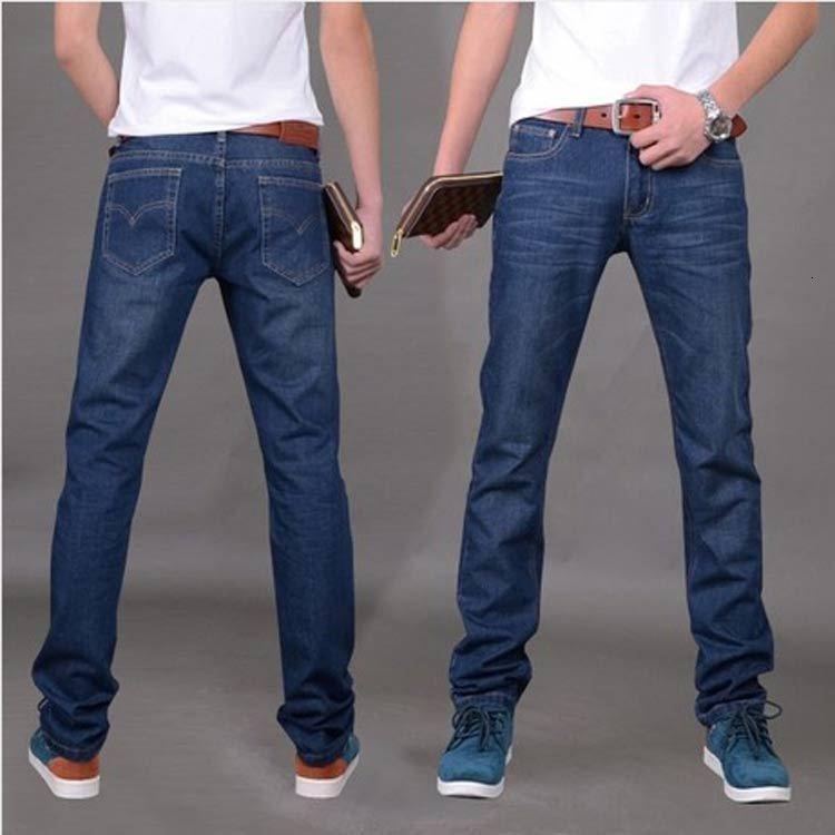 Jeans rectos Slim Fit juventud sueltos grandes casuales periódicos coreanos pantalones de hombre de moda