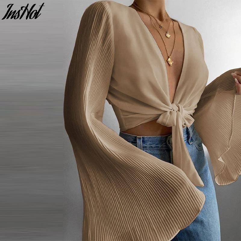 Women's Blouses & Shirts Spring Flare Long Sleeve Beach Blouse Solid Sexy Deep V Neck Women Shirt Blusas Summer Tie-Up Hollow Out Tops Stree