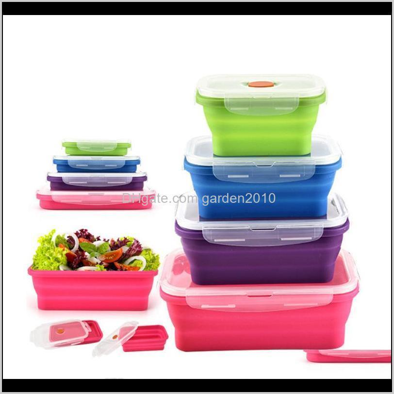 Boxes Kitchen Storage Housekeeping Organization Home & Garden Drop Delivery 2021 4Pcs Lot Sile Folding Lunch Portable Bowl 350Ml 540Ml 800Ml