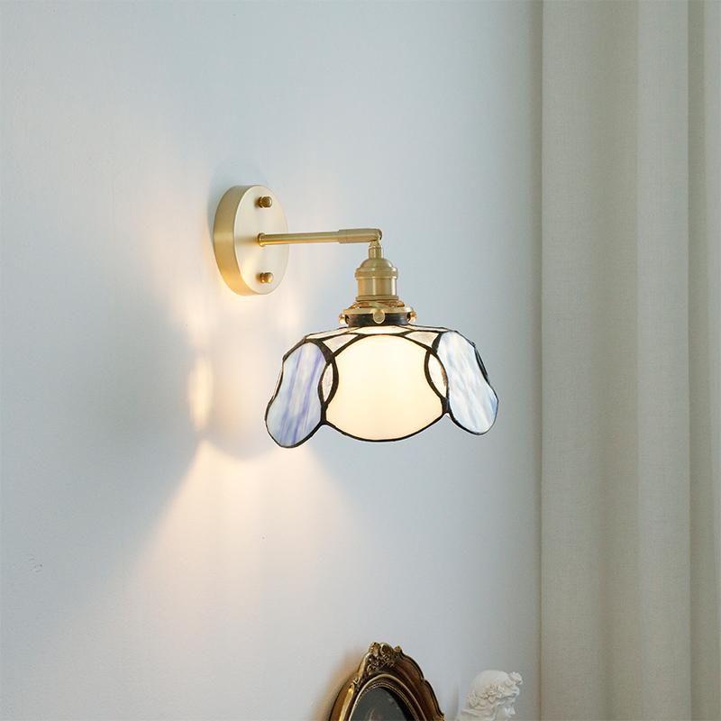 Creative Retro E27 Lamp Holder Medieval Glass Wall Light American French Living Room TV Bedroom Corridor LED Bedside