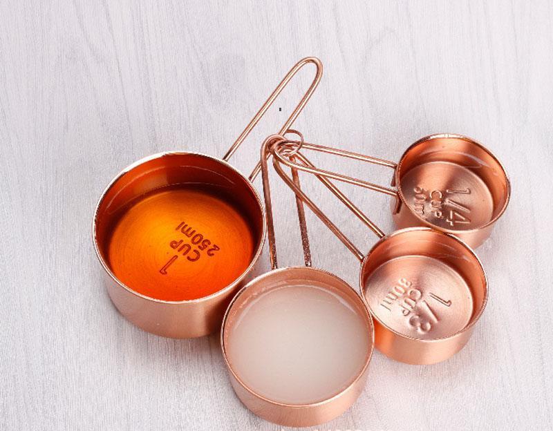Copos de medição de aço inoxidável de cobre 4 peças definir ferramentas de cozinha fazendo bolos e gauges de cozimento ferramentas de medição llb8357