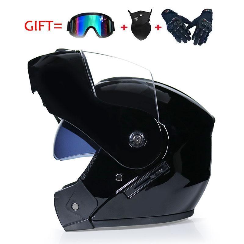 오토바이 헬멧 고품질 플립 헬멧 ABS 풀 얼굴 레이싱 도트 승인 무료 3 선물