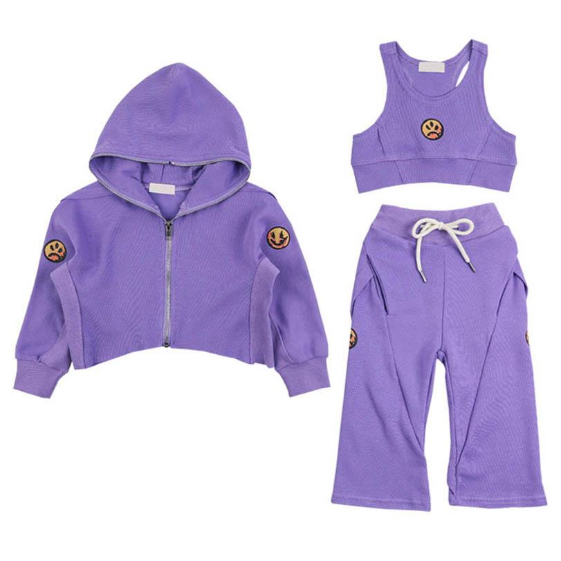 Clothing Sets Girls Outfits Baby Clothes Children Kids Tracksuit Spring Autumn Cotton Long Sleeve Coat Vest Pants 3Pcs Suits 1-7Y B4354