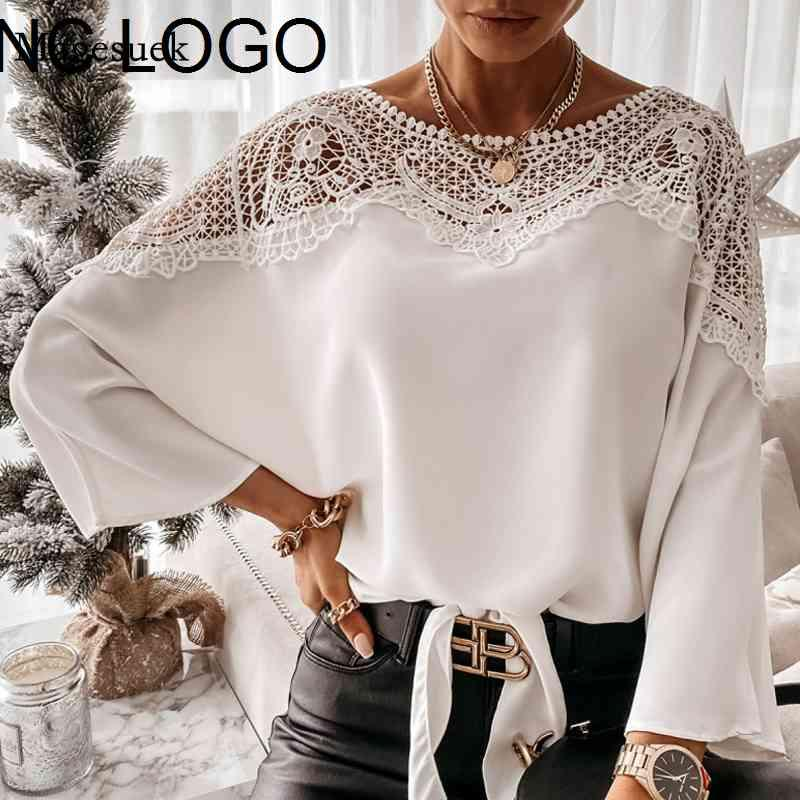 New Crochet Embroidery Blouses Women Autumn Sexy Lace Stitching White Shirts Vintage Plus Size Ladies Tops Blusas 12459