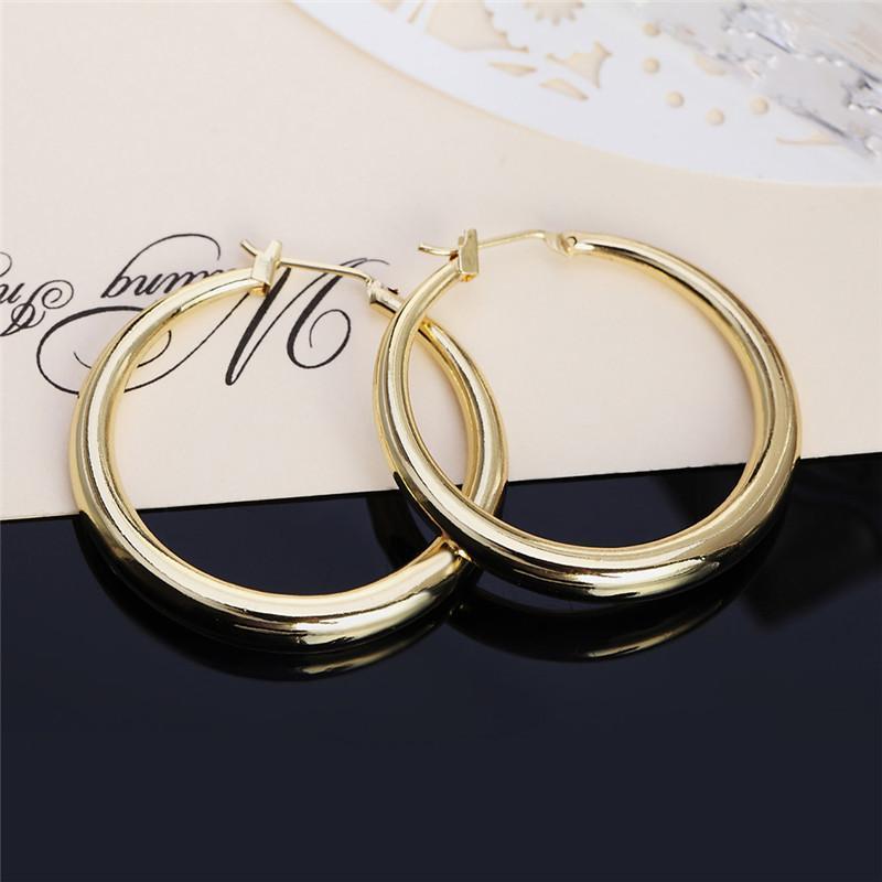 Solid Real 925 серебристый универсальный круглый обруч серьги925 штампованные серьги из золотого круга женские толстые, чем нормальные Huggie