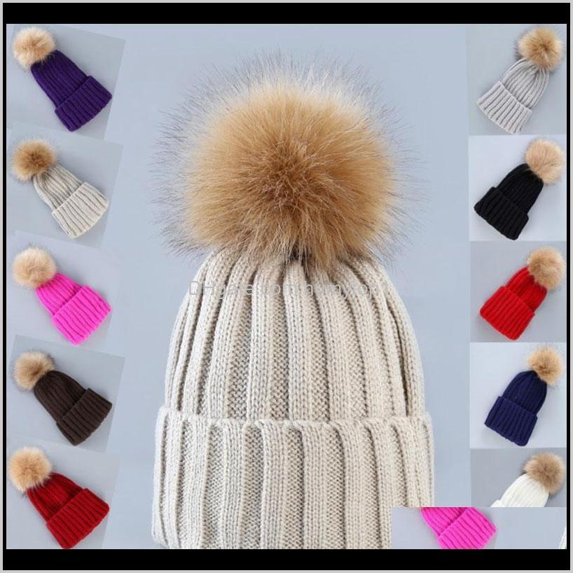 Women Girl Solid Color Outdoor Winter Warm Faux Fur Ball Hat Sports Beanie Knit Crochet Caps Agv4H Beanies Krmxm