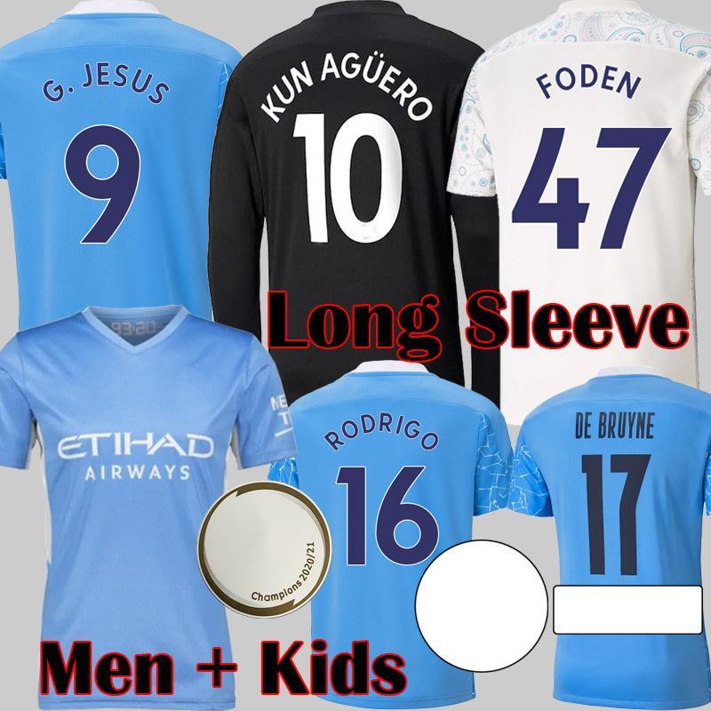 2021 도시 긴 소매 축구 유니폼 Finals de Bruyne Kun Aguero 축구 셔츠 맨체스터 Foden 2022 장비 20 22 22 남자 키트