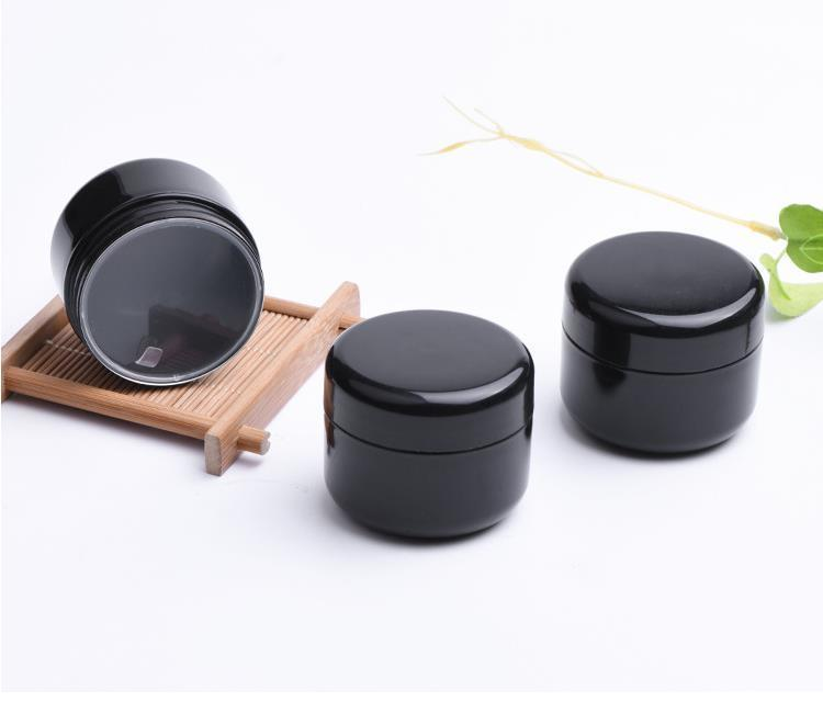 empty containers 50g black PET plastic cosmetic jars with clear inner PP cover for hand/face cream mask SN5090 JR95