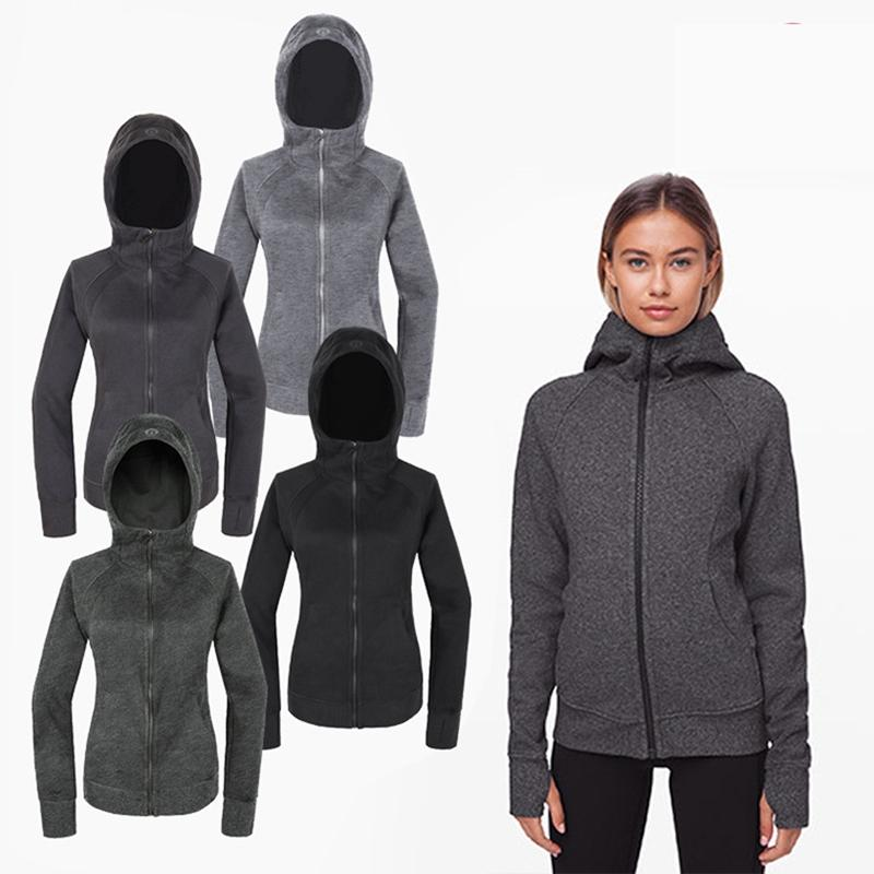 Women's fall/winter sports sweater hoodie indoor fitness yoga top leisure outdoor running hoody windproof and warm hooded cardigan solid color jacket