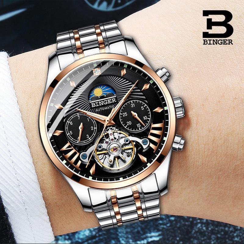 Suisse Mechanical Watch Hommes Binger des montres Montres Squelette Tourbillon Saphir Sapphire Holle Horlogerie Imperméable