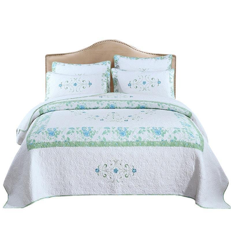 Bettdecken setzt hochwertige BettSpread-Quilt 3-teil-echte bestickte Baumwollquilts Bettbezug Kissenbezug King Queen-Size-Coveret-Set-Decke