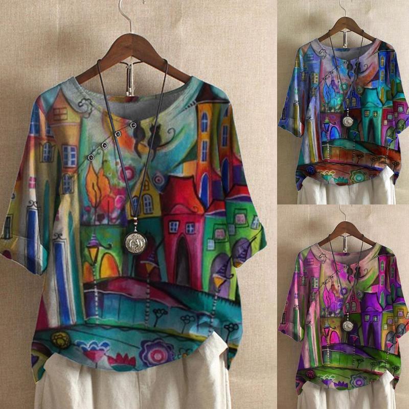 Sommer t shirts frauen tops plus größe buttons blume gedruckt 3/4 sleeve leinen t-shirt bluse ropa de mujer 2021 frauen