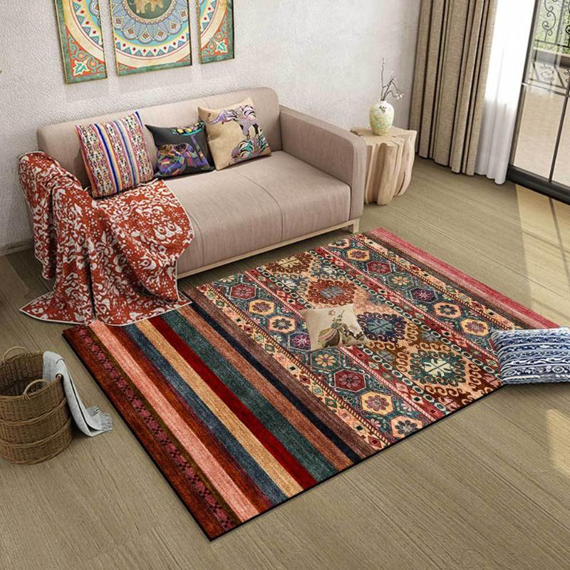 Fashion American Ethnic Style Color Deep Red Geometric Stripes Living Room Bedroom Bedside Carpet Floor Mats Carpets