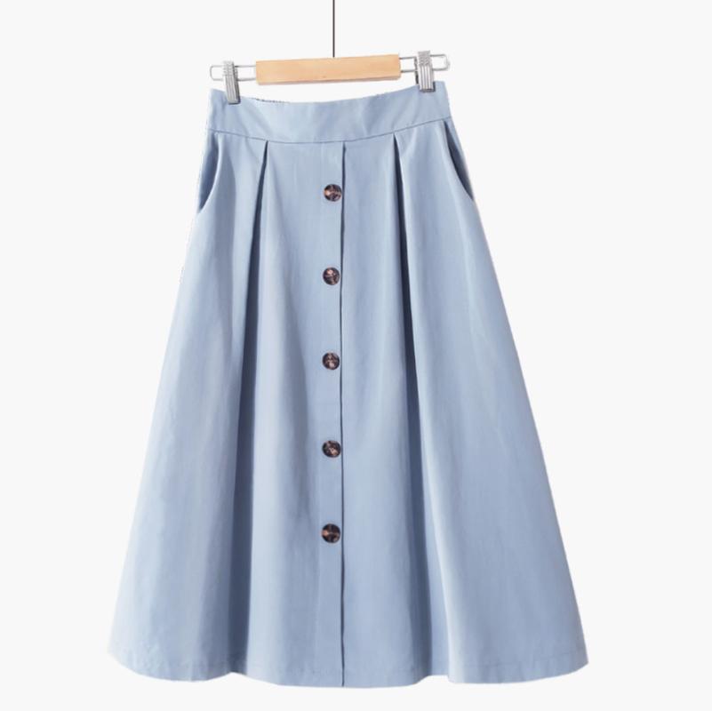 Röcke 9877 Frauen Mädchen Rock gewaschene Baumwolle elastische hohe Taille einreihig Tasche einfache feste Farbe ein Wort lang