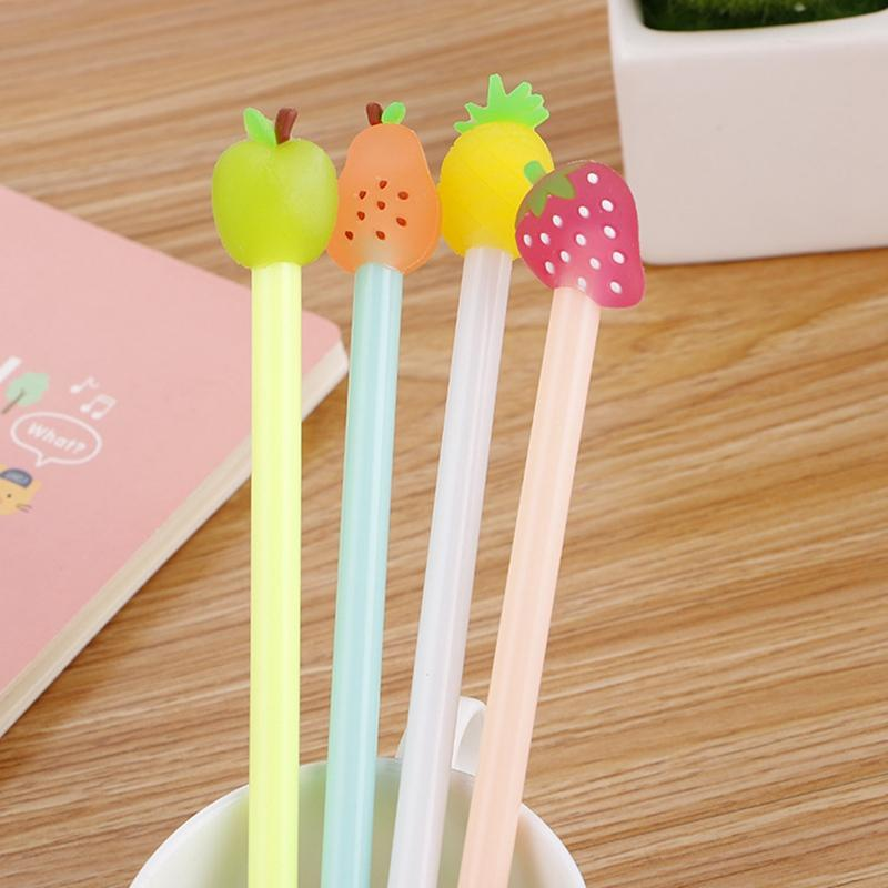 Cute Fruit Gel Pen Kawaii Fruits Neutral Pens 0.5mm Black Ink For Kids Gifts School Office Stationery Supplies 0378